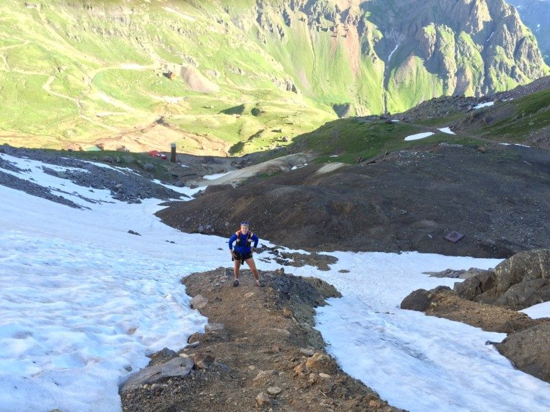 Lynn starting the slick climb to Virginius